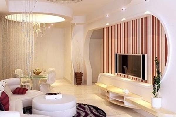 现代简约电视背景墙因其简单大气的装修风格越来越受
